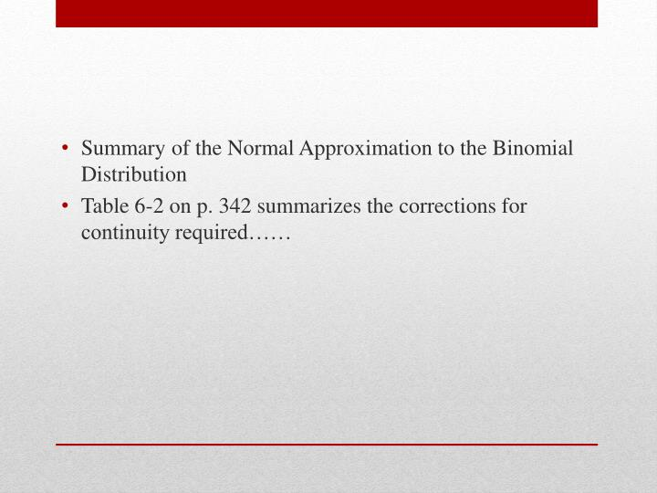 Summary of the Normal Approximation to the Binomial Distribution