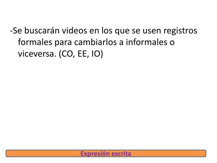-Se buscarán videos en los que se usen registros formales para cambiarlos a informales o viceversa. (CO, EE, IO)