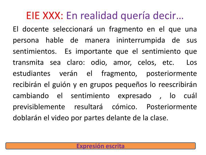 EIE XXX: