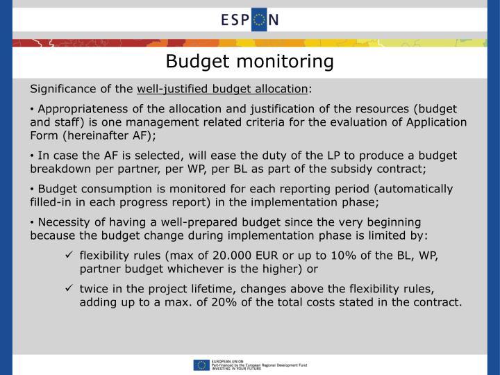 Budget monitoring