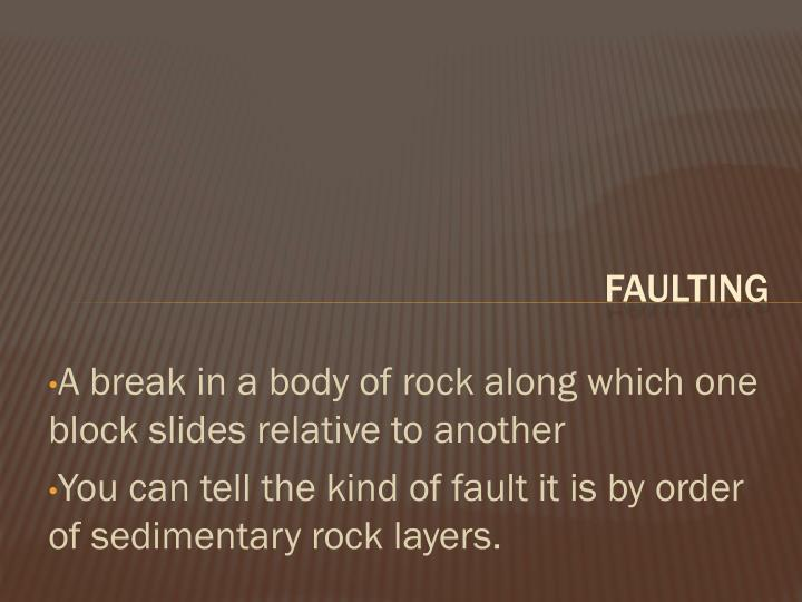 A break in a body of rock along which one block slides relative to another