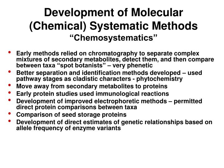 Development of Molecular (Chemical) Systematic Methods
