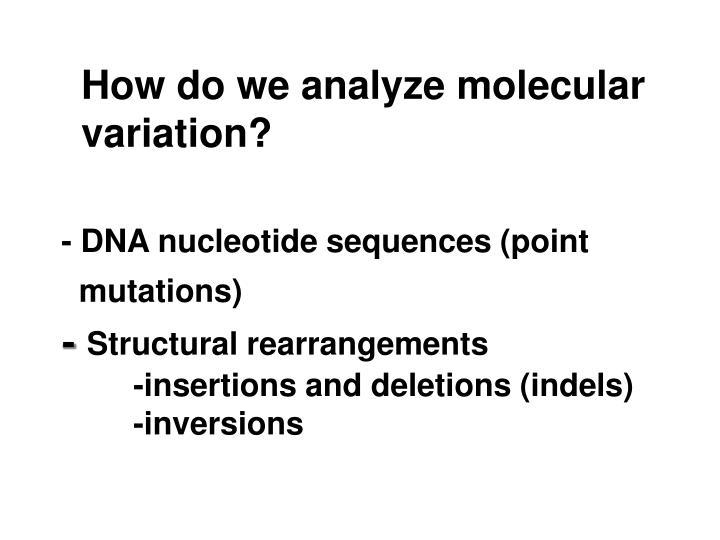 How do we analyze molecular variation?