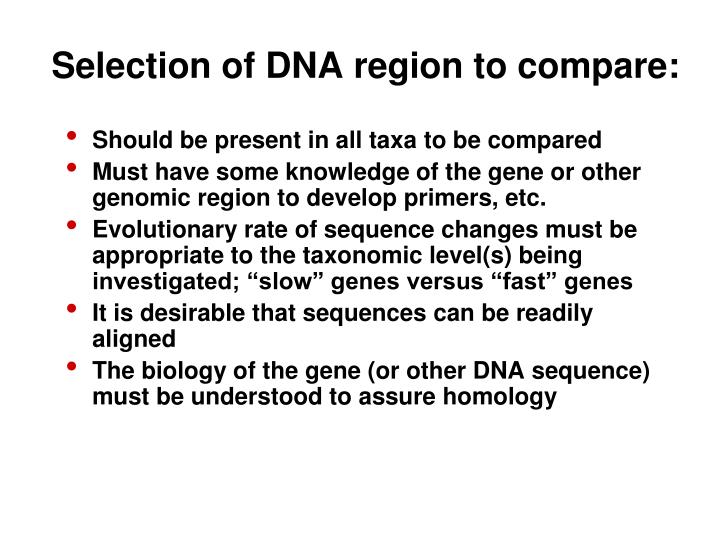 Selection of DNA region to compare: