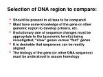selection of dna region to compare