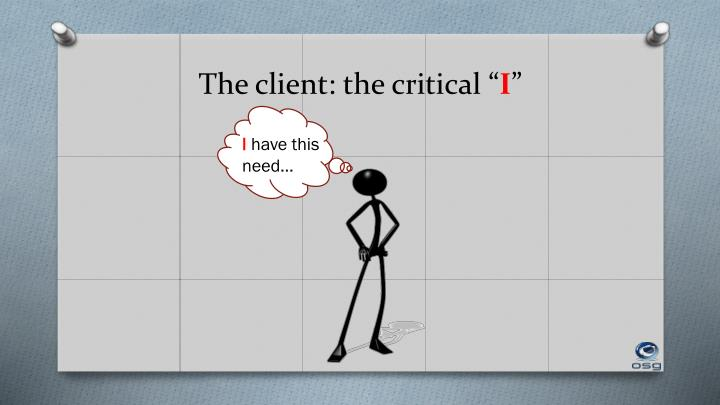 The client: the critical ""