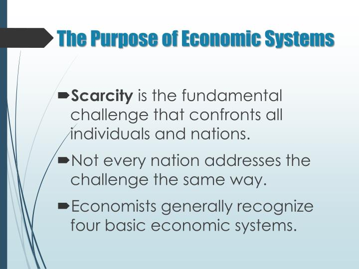 The Purpose of Economic Systems