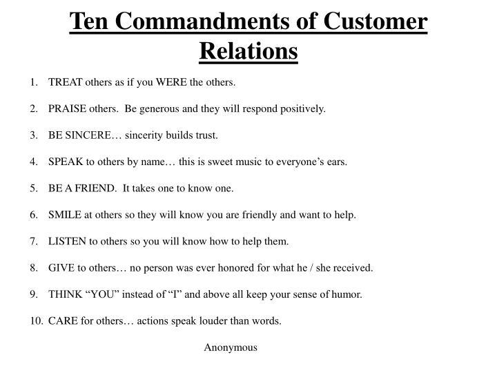 Ten Commandments of Customer Relations
