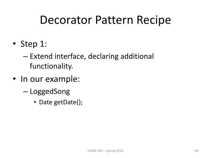 Decorator Pattern Recipe