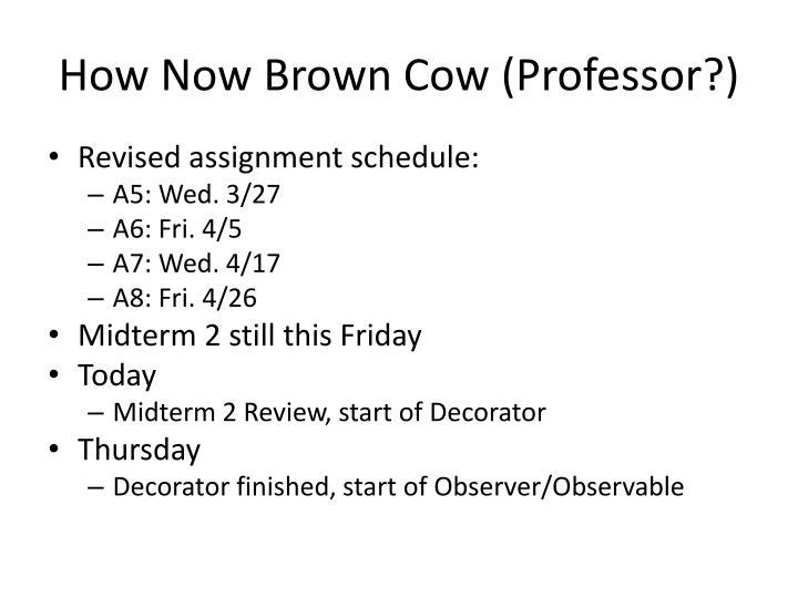 How Now Brown Cow (Professor?)