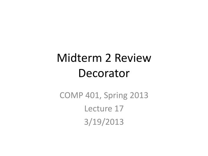 Midterm 2 Review