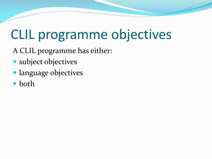CLIL programme objectives