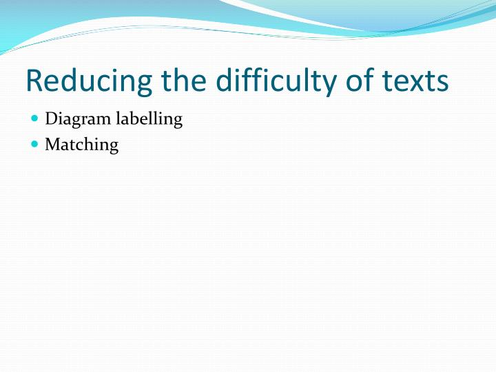 Reducing the difficulty of texts
