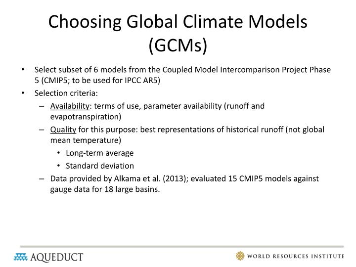 Choosing Global Climate Models (GCMs)