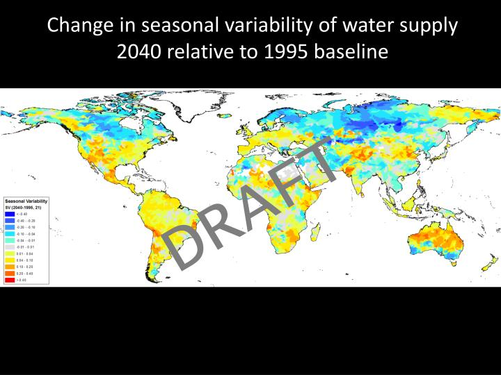 Change in seasonal variability of water supply