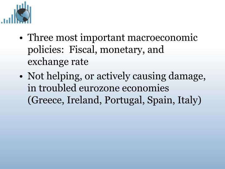 Three most important macroeconomic policies:  Fiscal, monetary, and exchange rate