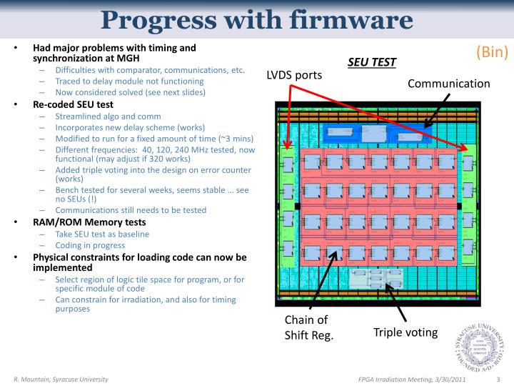 Progress with firmware