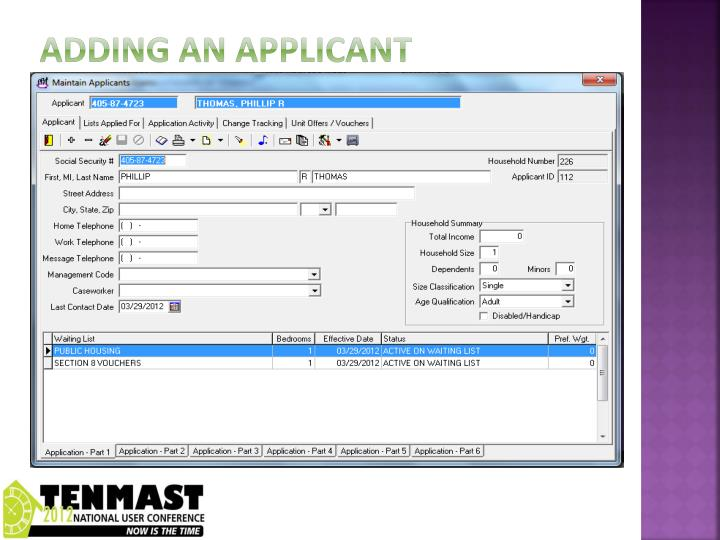 Adding an applicant