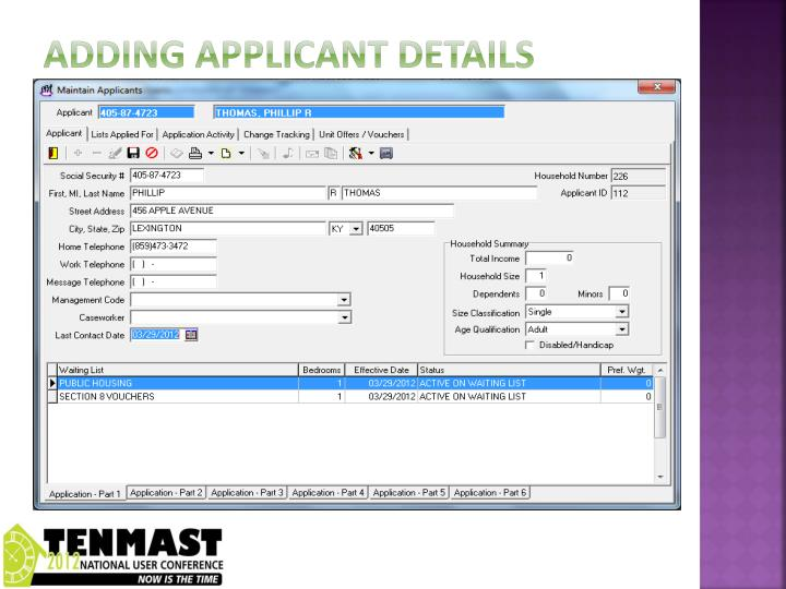 Adding applicant details