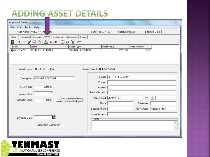 Adding asset details