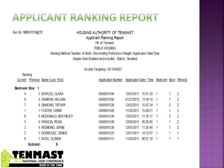 Applicant ranking report