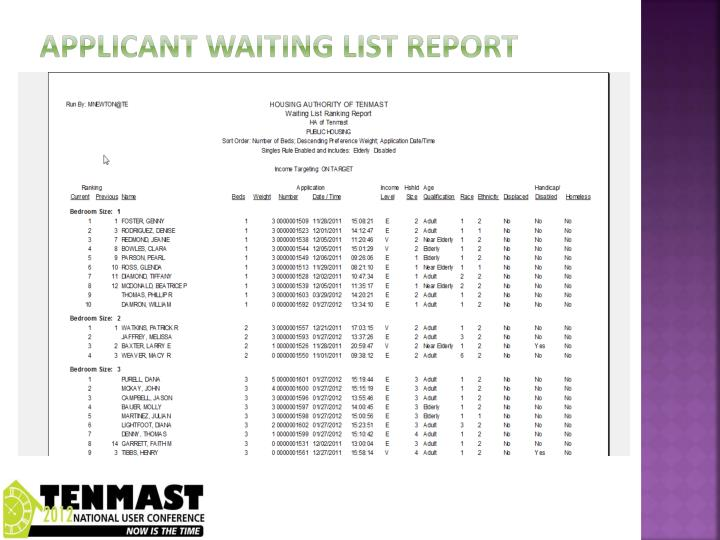 Applicant waiting list report