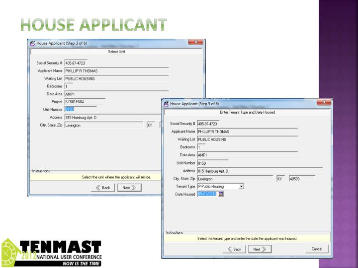 House applicant