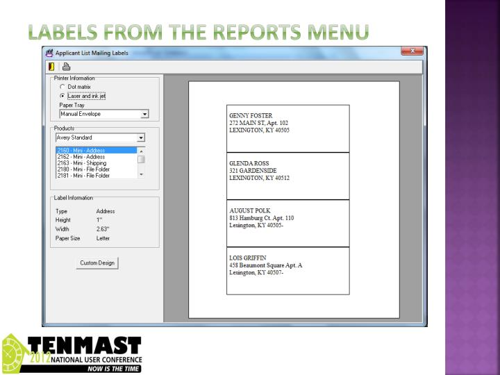 Labels from the reports menu