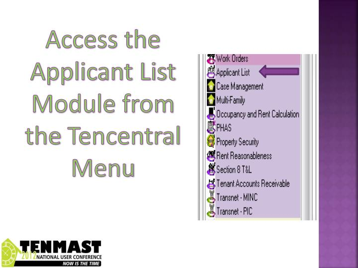 Access the Applicant List Module from the