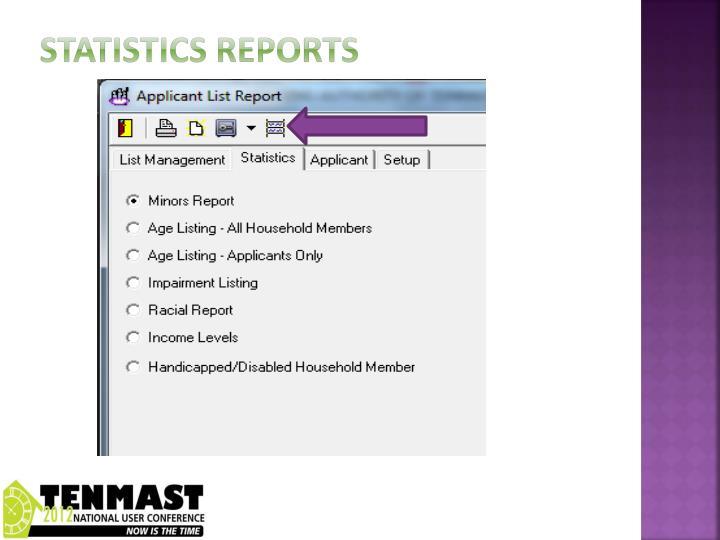Statistics Reports