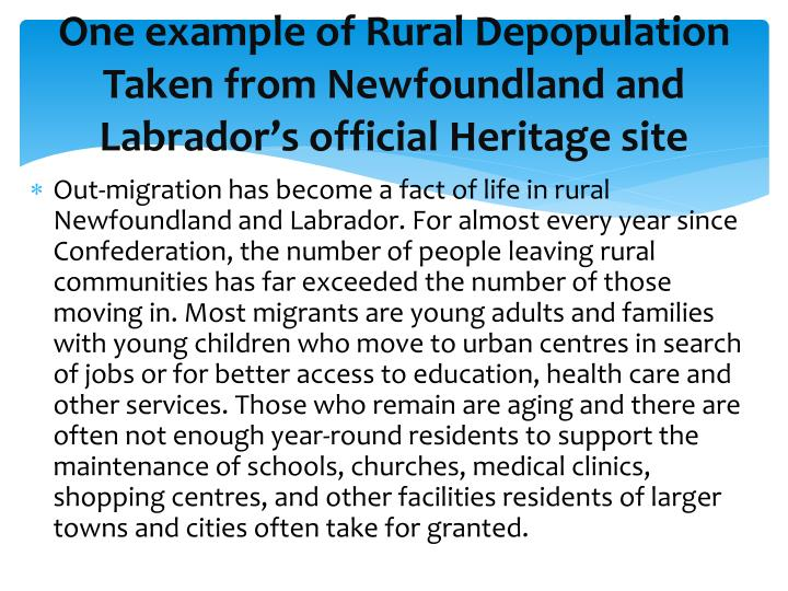 One example of Rural Depopulation