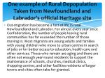 one example of rural depopulation taken from newfoundland and labrador s official heritage site