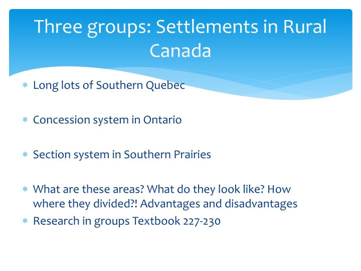 Three groups: Settlements in Rural Canada
