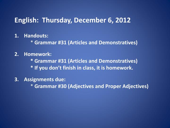 English thursday december 6 2012