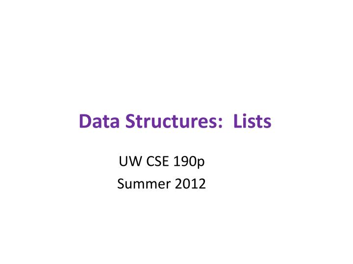 Data structures lists