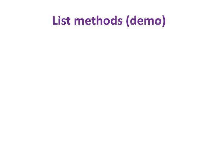 List methods (demo)