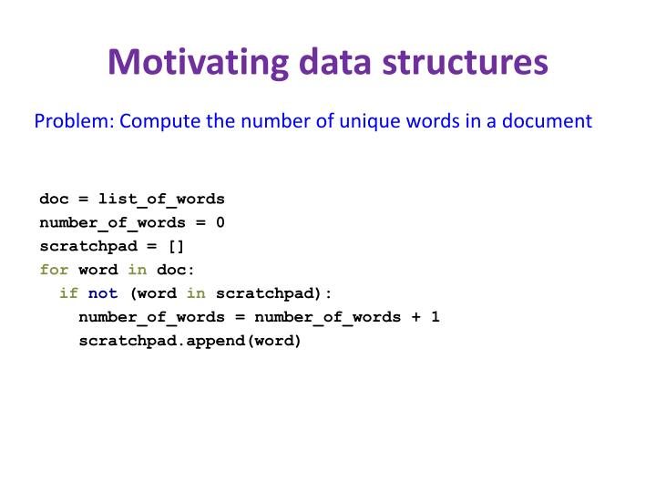 Motivating data structures