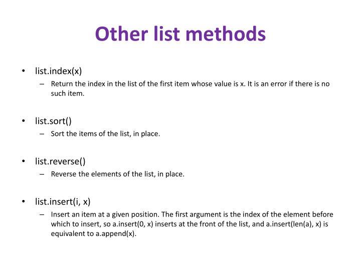 Other list methods