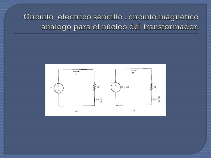 Circuito  eléctrico sencillo , circuito magnético análogo para el núcleo del transformador.