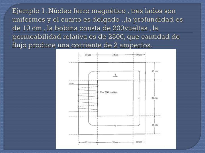 Ejemplo 1. Núcleo ferro magnético , tres lados son uniformes y el cuarto es delgado .,la profundidad es de 10 cm , la bobina consta de 200vueltas , la permeabilidad relativa es de 2500, que cantidad de flujo produce una corriente de 2 amperios.