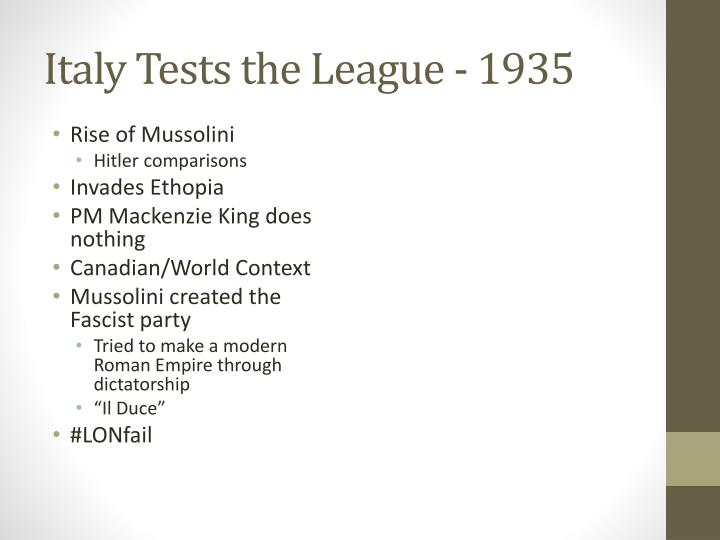 Italy Tests the League - 1935