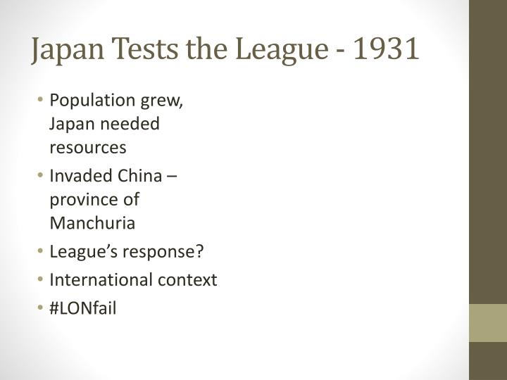 Japan Tests the League - 1931