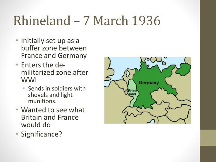 Rhineland – 7 March 1936