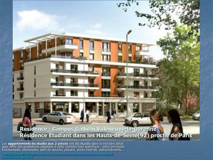 Residence : Campus Gallieni Villeneuve-la-Garenne