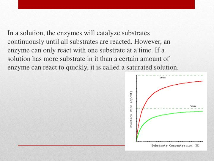 In a solution, the enzymes will catalyze substrates continuously until all substrates are reacted. However, an enzyme can only react with one substrate at a time. If a solution has more substrate in it than a certain amount of enzyme can react to quickly, it is called a saturated solution.
