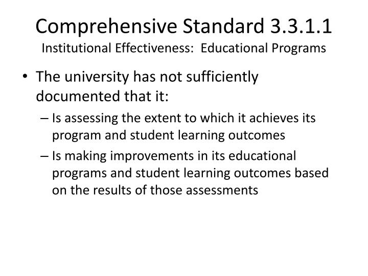 Comprehensive Standard 3.3.1.1