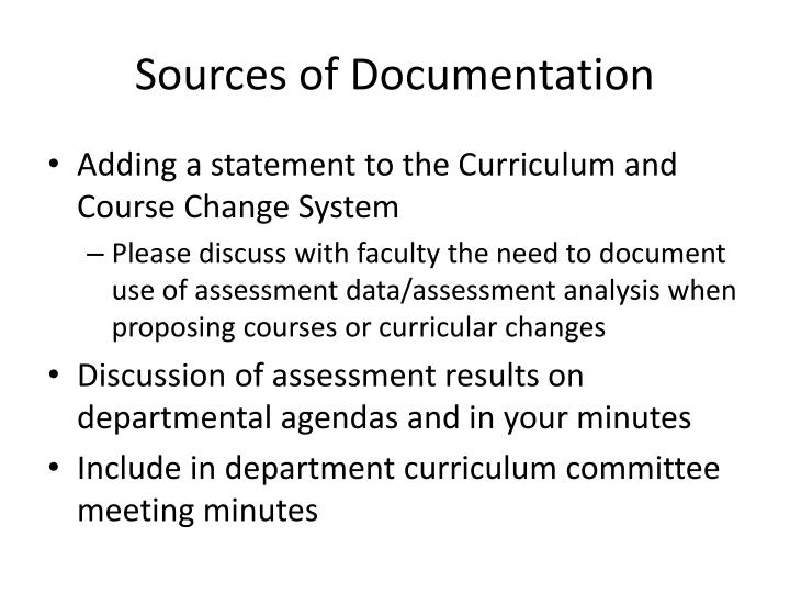 Sources of Documentation