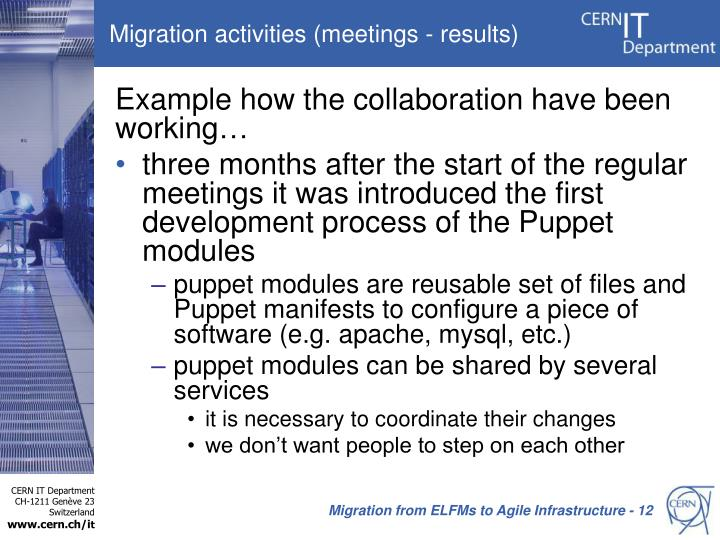 Migration activities (meetings - results)