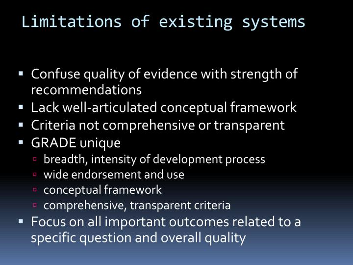 Limitations of existing systems