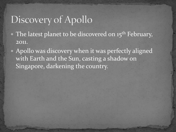 Discovery of Apollo
